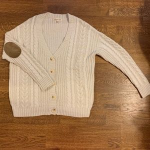 Button Cardigan With Brown Corduroy Elbow Patches